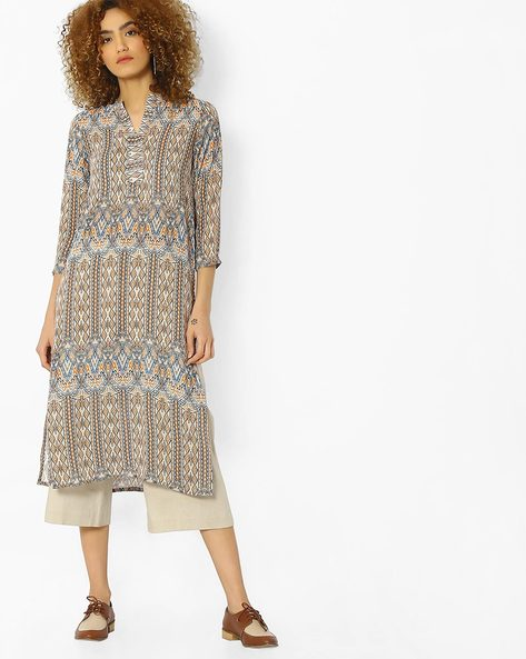 Printed Tunic With Mandarin Collar By And ( Printed )