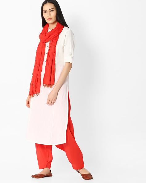 Cotton Patiala Pants And Dupatta Set By Jaipur Kurti ( Orange )