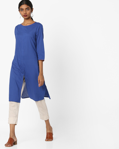 Tunic With Front Slit By AJIO ( Blue )