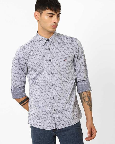 Leaf Print Slim Shirt By CRIMSOUNE CLUB ( Ltgrey )