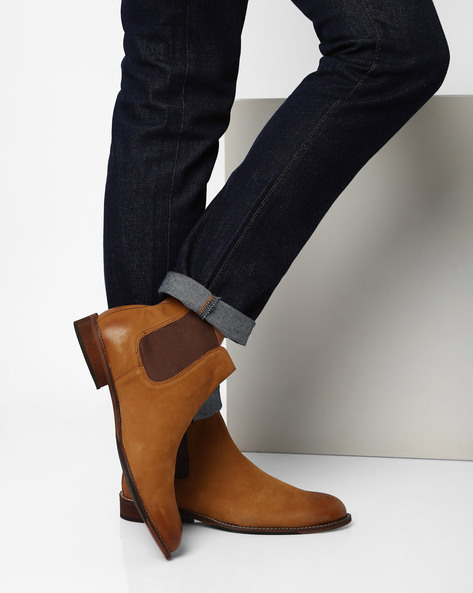 Suede N9 Treated Desert Chelsea Boots By AJIO ( Beige )