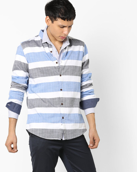 Slim Fit Striped Shirt With Button-Down Collar By AJIO ( Blue )