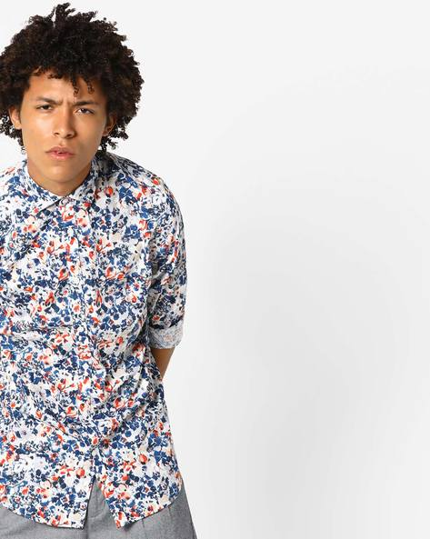 Floral Print Shirt With Curved Hem By Jack & Jones ( Red )