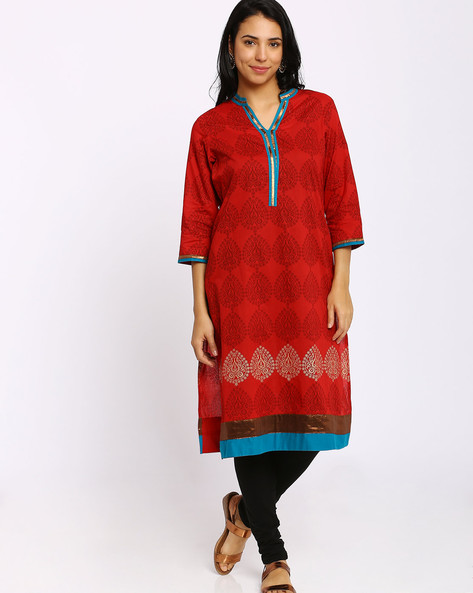 0ce3a441cd0 Boat-Neck Winter Kurta By AVAASA MIX N' MATCH ( Red ) Best Deals ...