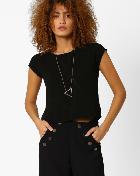 Crop Top With Ladder-Embroidered Insets By AJIO ( Black )