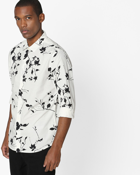 Monochrome Floral Print Cotton Shirt By UNITED COLORS OF BENETTON ( White )