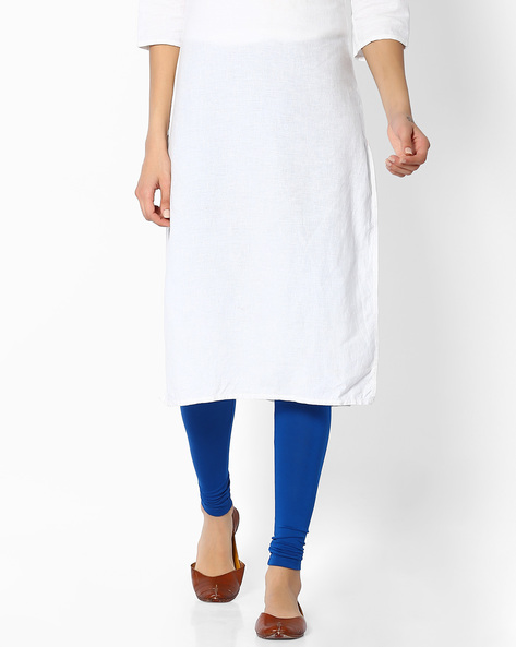 Churidar With Elasticated Waistband By Melange By Lifestyle ( Blue )