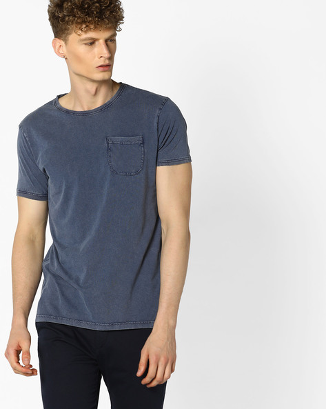 Crew-Neck T-shirt With Patch Pocket By VOI JEANS ( Blue )