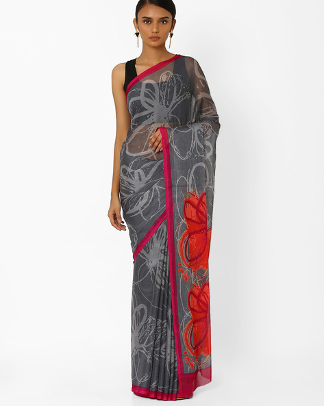Floral Print Saree With Contrast Border By Akoya ( Grey )