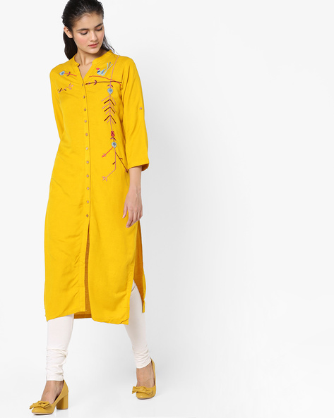 Embroidered Kurta With Front-Slit Hem By Global Desi ( Mustard )