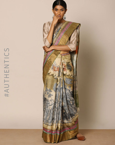 Pure Silk Printed Designer Saree By Rudrakaashe-MSU ( Yellow )