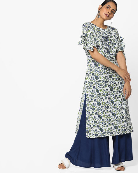 All-Over Floral Print Kurta By AJIO ( Blue )