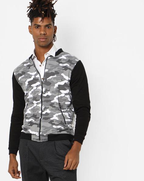 Camo Print Bomber Jacket By DEEZENO ( Grey )