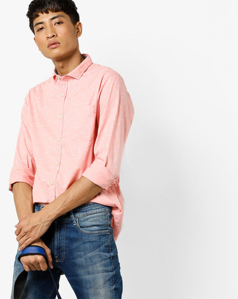 Printed Slim Fit Shirt With Patch Pocket By FLYING MACHINE ( Pink )