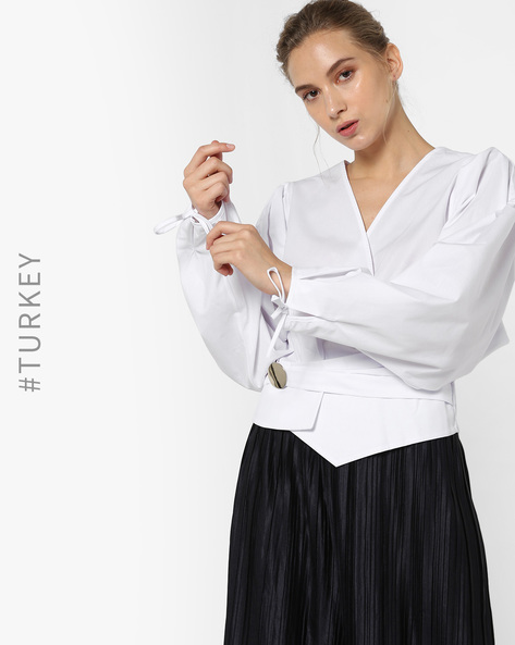Surplice-Neck Top With Tie-Up Sleeves By TRENDYOL ( White )