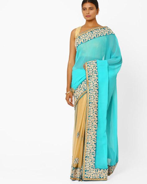 Silk Georgette Designer Saree By RCPC ( Lightblue )