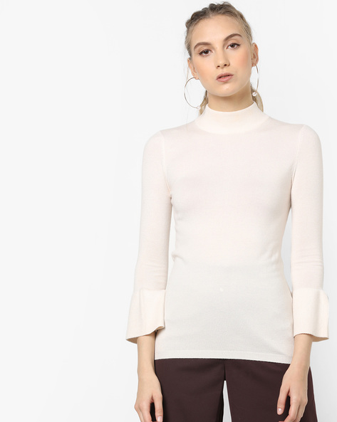 High-Neck Pullover With Bell Sleeves By CODE By Lifestyle ( Offwhite )
