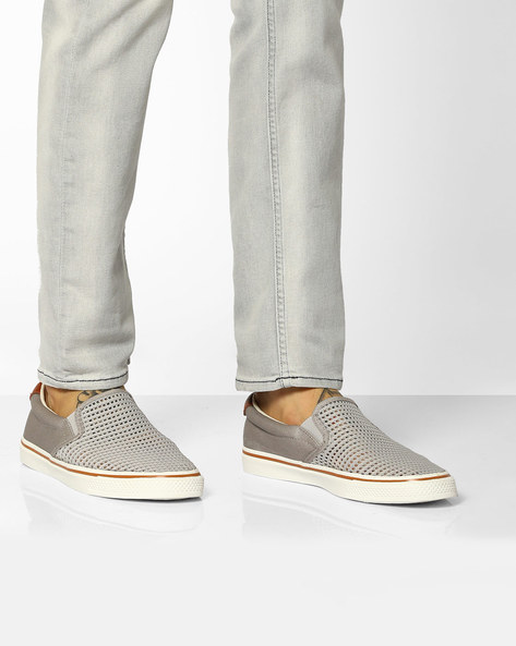 Canvas Slip-Ons With Mesh Upper By UNITED COLORS OF BENETTON ( Grey )