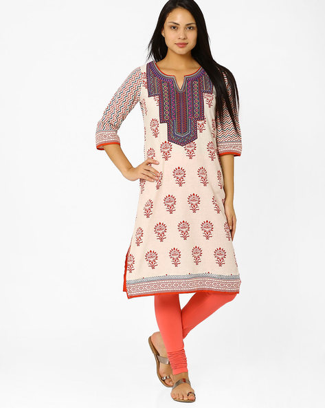 Printed Kurta With Embroidered Yoke By Rangriti ( Beige )