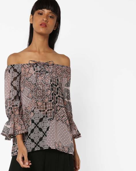Off-Shoulder Top With Bell Sleeves By Oxolloxo ( Multicolor )