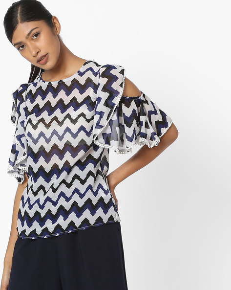 Printed Top With Ruffled Cold-Shoulder Sleeves By FIG ( Navy )