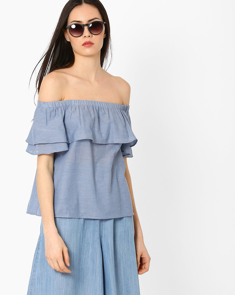 Off-Shoulder Top With Ruffles By AJIO ( Navyblue )