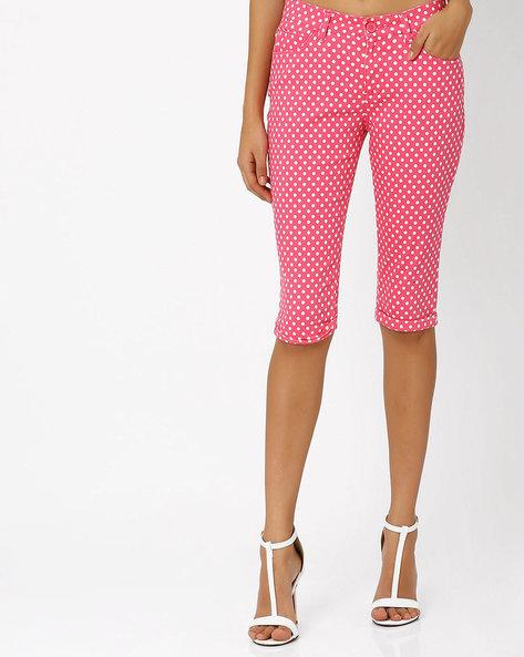 Polka-Dot Print Capris By Honey By Pantaloons ( Red )