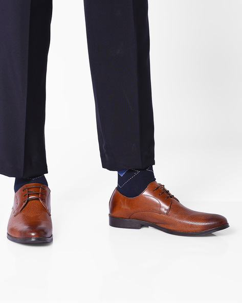 Genuine Leather Formal Derby Shoes By RED TAPE ( Tan )