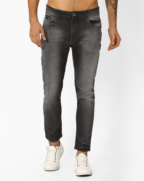 Lightly Washed Distressed Denims By ADAMO LONDON ( Grey )
