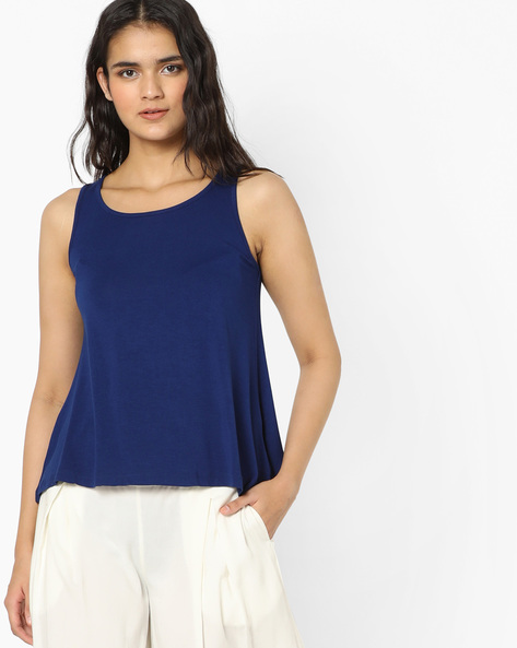 Sleeveless Round-Neck Top By Global Desi ( Ink )