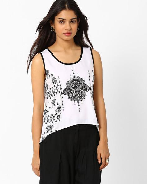 Printed Sleeveless Top By Akkriti By Pantaloons ( White )