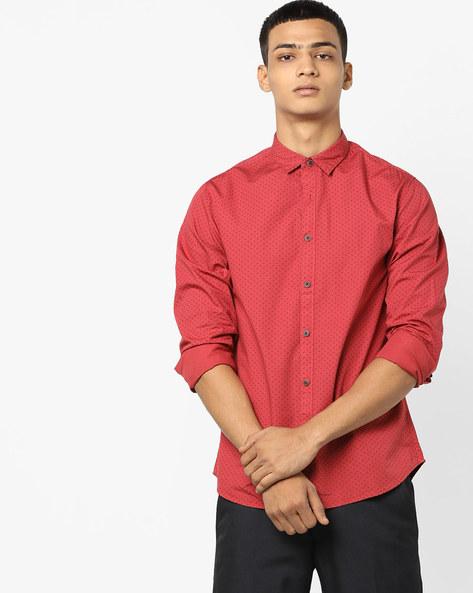 Micro-Print Slim Fit Shirt By AJIO ( Red )