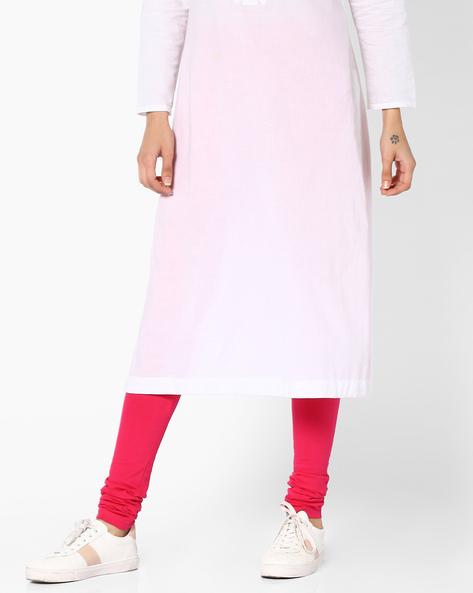Churidar Leggings With Elasticated Waistband By Global Desi ( Pink )