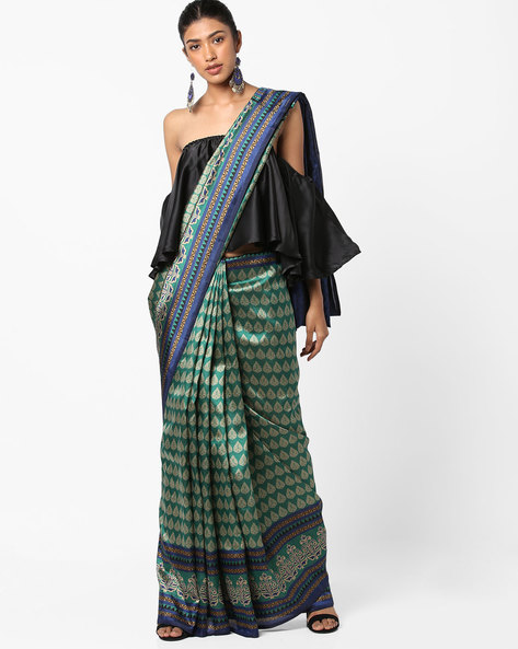 Printed Saree With Striped Border By Florence ( Green )