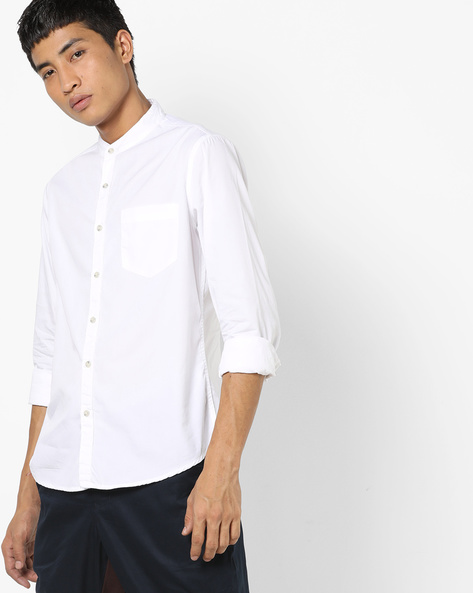 Slim Fit Shirt With Mandarin Collar By AJIO ( White )