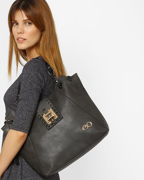 Hobo Bag With Tassel Detail By E2O ( Grey )