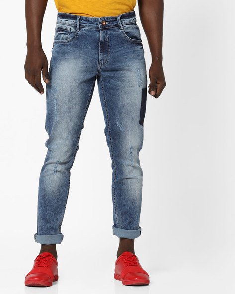 Heavily Washed Slim Tapered Fit Jeans By AJIO ( Blue )