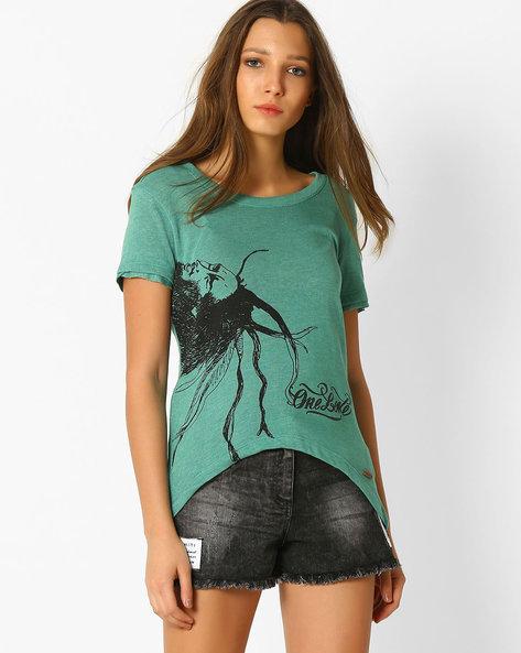 Bob Marley Print High-Low T-shirt By DNMX ( Green )