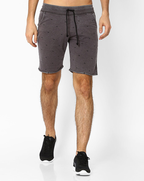 Printed Burnout Shorts By Garcon ( Grey )