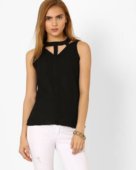 Sleeveless Top With Cut-Out Detail By ANONYMOUS CO ( Black )