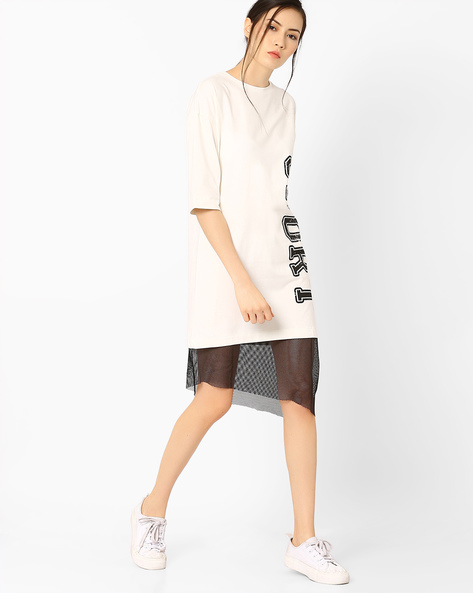 Athleisure Dress With Asymmetric Mesh Panel By AJIO ( Offwhite )