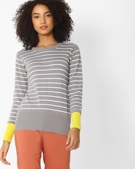 Striped Sweater With Contrast Sleeve Hems By Teamspirit ( Medgrey )