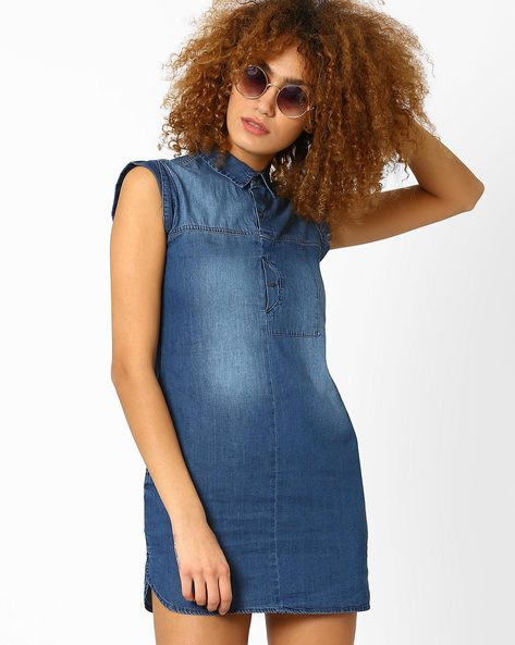 Denim Shift Dress With Cap Sleeves By WRANGLER ( Blue )
