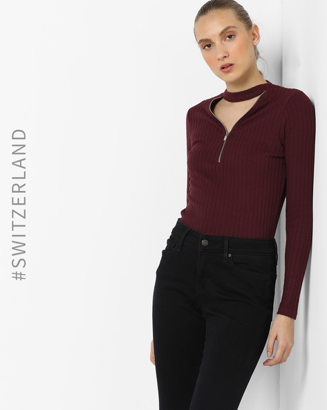 Ribbed Top With Choker Neckline By TALLY WEiJL ( Purple )