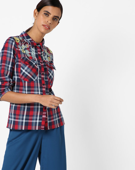 Checked Shirt With Embroidery By Rena Love ( Multi )