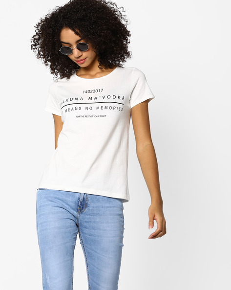 Typographic Print Crew-Neck T-shirt By AJIO ( Offwhite )