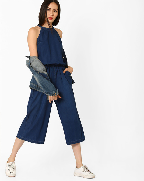 Racerneck Jumpsuit With Elasticated Waist By Pepe Jeans ( Blue )