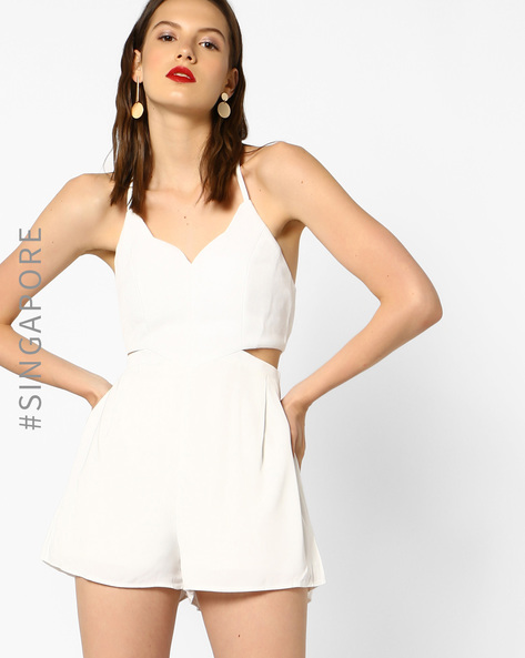 Strappy Playsuit With Cutouts By MDS ( White )