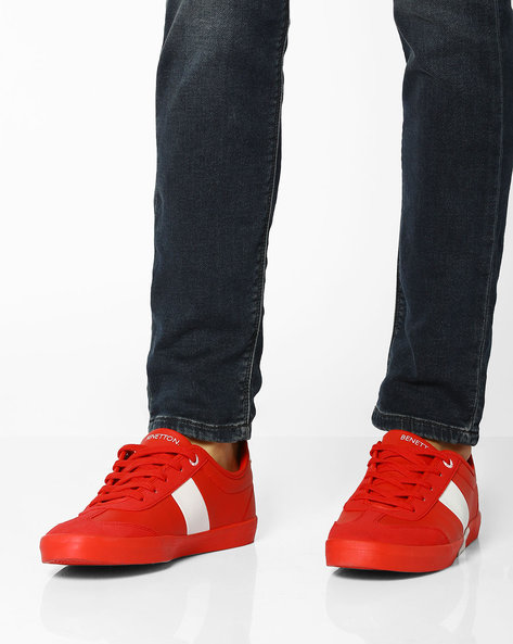 Casual Sneakers With Lace-Up Fastening By UNITED COLORS OF BENETTON ( Red )