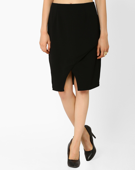 Overlap-Front Georgette Pencil Skirt By AJIO ( Black )